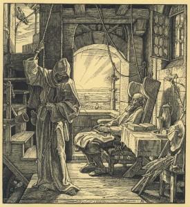 'Der Tod als Freund' - 1851 - houtsnede van Alfred Rethel
